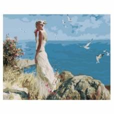 """Картина по номерам """"Девушка на фоне моря"""" размер 40x50 (арт. GX5705)"""