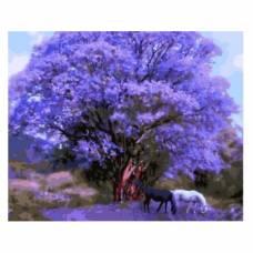 "Картина по номерам ""Две лошади под сиреневым деревом"" размер 40x50 (арт. GX8784)"