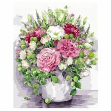 """Картина по номерам """"Яркие пионы с зелеными плодами в белой вазе"""" размер 40x50 (арт. MG2060)"""