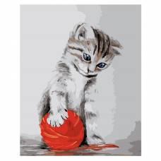 """Картина по номерам """"Котенок с красным клубком"""" размер 40x50 (арт. MG2075)"""