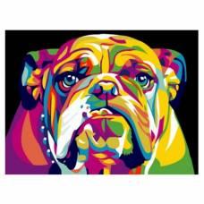 """Картина по номерам """"Радужный американский бульдог"""" размер 30x40 (арт. EX5371)"""