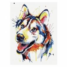 """Картина по номерам """"Разноцветный щенок"""" размер 30x40 (арт. ME1091)"""