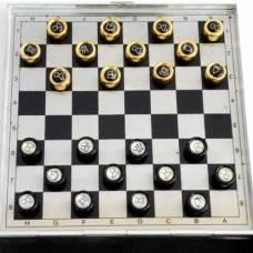 """Шашки магнитные """"Чёрные и золотые"""" 8 на 8 клеток"""